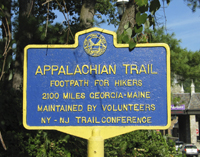 Click to enlarge photo of Appalachian Trail Sign.from the bear Mountain Bridge.